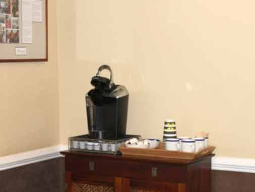 Free Coffee in Waiting Room at Apex Dental Group